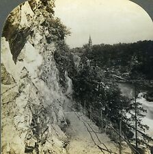 Stereoview Photo Tourists Path Cut in Solid Granite near Trolhatta Sweden