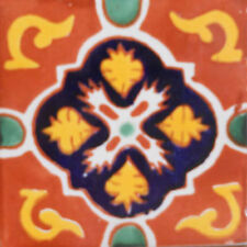 #C101) Mexican Tile sample Ceramic Handmade 4x4 inch, GET MANY AS YOU NEED !!