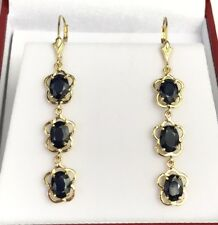 14k Solid Yellow Gold Leverback 3 Stones Dangle Earrings, Natural Sapphire 6CTW