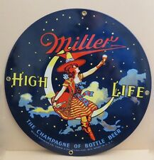 Miller High Life Girl in The Moon Ande Rooney Sign Porcelain Enameled Nost