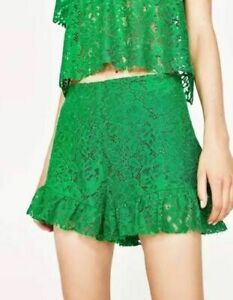 ZARA SS17 FLORAL GREEN GUIPURE LACE RUFFLE SHORTS SKORT SIZE M NEW LIMITED SOLDO