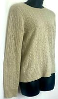 Tweeds Womens Sweater 100% Cashmere Beige Cable Knit Pullover Round Neck Small