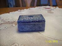 Trinket Box Vintage Blue & White Porcelain Square With Floral Leaf Pattern