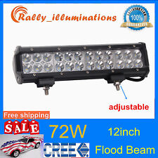 12inch 72W Cree Led Work Light Bar Flood Beam Suv Boat Driving Lamp Offroad TOPP