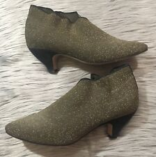 VTG Sesto Meucci Sz 8.5M Black Gold Stretchy Ankle Boots Metallic Italy  Suede