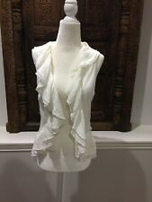 100% Linen Crochete Knit Sweater Vest Ralph Lauren Size Petite Medium