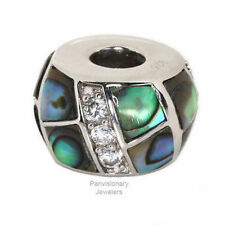 Silver Abalone European Charm Bead Pendant  Inlaid Shell 925 Sterling CZ Accents