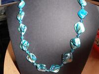 Halskette Muschel Nuggart Perlmutt mit Kristall Perlen in Blau 48cm