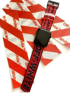 Custom Off-white Apple Watch Band Red