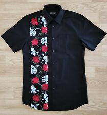 Mens Rockabilly Style Bowling Shirt Skulls And Roses - Rock n Roll Short Sleeve