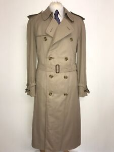 BURBERRY -Mens Long TRENCHCOAT With WOOL Lining - 44-46 Long -STUNNING RAIN COAT