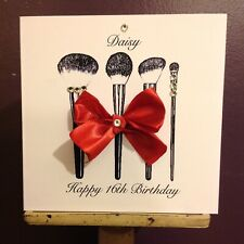 Handmade Personalised Makeup Brushes Birthday Card Daughter 16th 18th 21st 40th