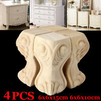 4pcs European Style Solid Wood Carved Furniture Foot Legs TV Cabinet Couch
