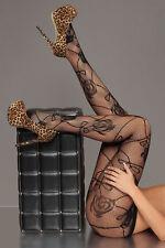 New Women Black Sheer Sexy Rose Pattern Fishnet Pantyhose Stockings Tights 8-12