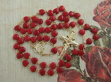 Catholic Rosary Red HEART SHAPED GLASS Crown of Thorns Crucifix Goldplated NOS