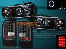 94-01 DODGE RAM CCFL HALO PROJECTOR HEADLIGHTS & LED BLACK TAIL LIGHTS 95 96 97