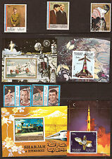 102T5 Sharjah 4 Blocks (1 New - 3 Mint )+5 Stamps Characters, Trains Rocket
