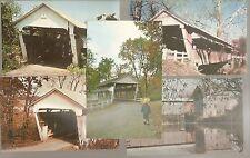 Lot of 5 Historic COVERED BRIDGES In OHIO Vintage Postcards c1930 / c1940