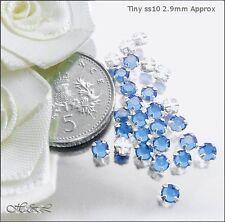 30 Swarovski ss10 Lt Blue Sapphire Vintage Rose Montee Sew On Crystal 10ss