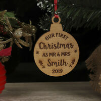 Personalised Our First Christmas As Mr & Mrs Tree Decoration Bauble Xmas Gift