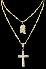 "14k Gold Plated 2 pc Jesus & Cross 18"" 24"" Rope Chain Set Mens Womens"
