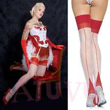 Bas Voile Couture Blanc avec Talon Cubain Rouge Taille unique 1 2 3 S M L