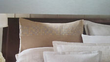 NEW! Barbara Barry INTERLACE BANDEAU Euro Pillow Sham DUNE Tan Embroidered