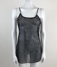 Belle Du Jour Women's Size Large Black Sheer Sequins Tank Top