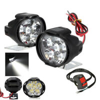 2pcs Spotlight Universal LED Motorcycle Headlight Mirror Mount Fog DRL +Switch