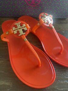 Tory Burch Mini Miller Jelly Thong 9 Kir Royal Orange Gold Reva Logo Sandal