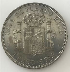 PUERTO RICO 1895-PGV SILVER 1 PESO ALFONSO XIII LUSTROUS EF+/AU GREAT CONDITION