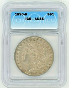 1890-S Morgan Dollar Silver S$1 Almost Uncirculated ICG AU55