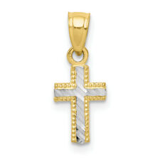10K Yellow Gold Tiny Diamond-Cut Cross Pendant 18x7mm  0.45gr
