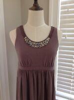 Ann Taylor LOFT Petites XS Jewel Sequin Embellished Taupe Knit Sleeveless Dress