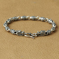 New Pure 925 Sterling Silver Dragon with Oval Sutra Bead Link Bracelet 18.5cm L