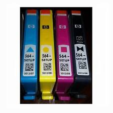 4 HP SETUP 564 Inkjet Cartridges Set Photo Black Cyan Magenta Yellow
