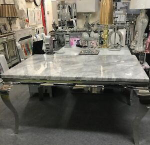 Louis dining table with grey solid marble top 1.5 AND 6 Grey Lion Knocker chairs
