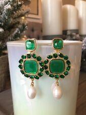 Oscar De La Renta  Green Crystal With Pearl  Earrings signed