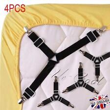 4 Noir/Blanc Clip Pince Drap lit Matelas Elastique Entrecroisé Nylon Fixation BS