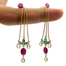 18k Solid Yellow Gold Dangling Fine Earrings Natural Ruby Emerald White Sapphire