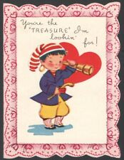 Vintage Valentines Card Pirate gold Earring You're the TREASURE I'm Looking For