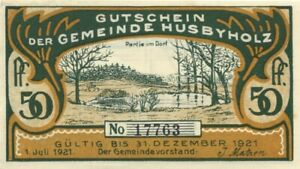 NOTGELD GERMANY 50 Pfennig XF Emergency Local Currency Husbyholz 1921 (58)