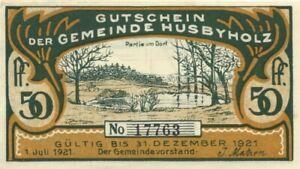 NOTGELD GERMANY 50 Pfennig XF Emergency Local Currency Husbyholz 1921 (58)