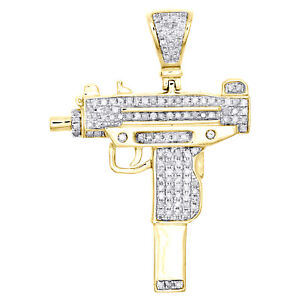 "10K Yellow Gold Diamond Uzi Machine Pistal Gun Pendant 1.65"" Pave Charm 0.62 CT."