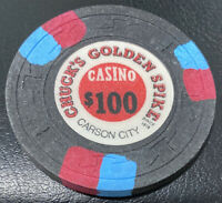 Chuck's Golden Spike Casino Carson City NV $100 Chip 1976