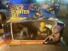 Vintage international Space scooter set bumping go action blinking headlights