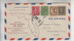 ULTRA FOUR COLOR LISTING FLORIDA AIR TOUR BRIGHTON JAN 16 1930 CACHET CANADA RCV
