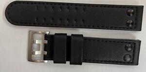 22mm Hamilton Leder Uhrenarmband Schwarz  Dornschließe doppelreihig ohne Logo