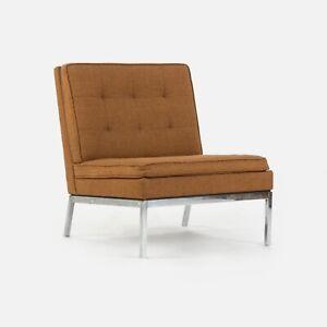 1973 Florence Knoll International Slipper Lounge Chair Brown/Burnt Orange Fabric