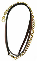 "Henri de Rivel Pro Collection Leather Lead with 24"" Solid Brass Chain"